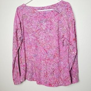 Soft Surroundings Floral Tunic Taper Sleeve Top